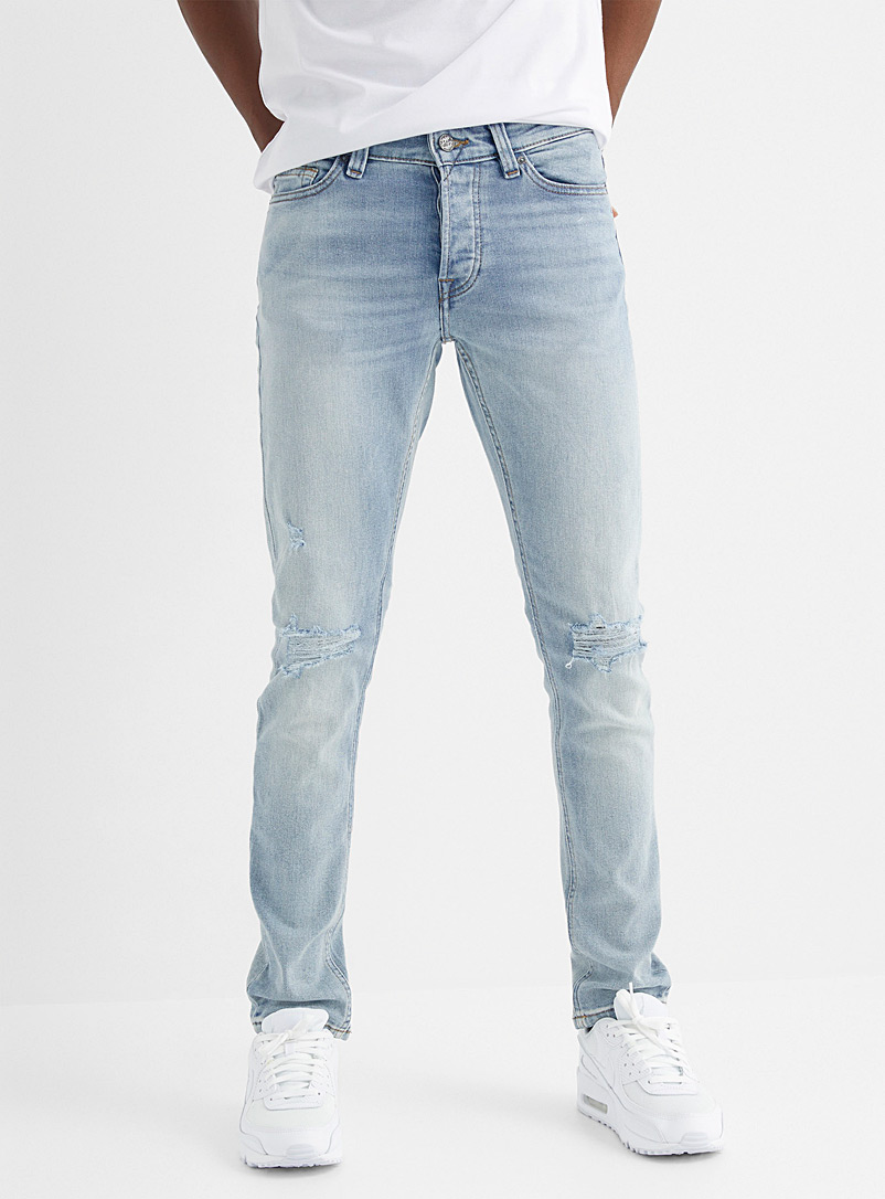 Only & Sons Baby Blue Loom distressed light blue jean Slim fit for men