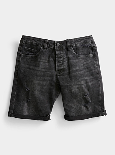 Only & Sons Black Distressed faded black Bermudas for men