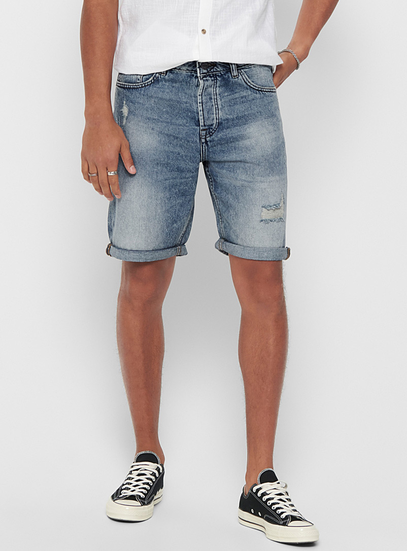 Only & Sons Blue Faded distressed denim Bermudas for men