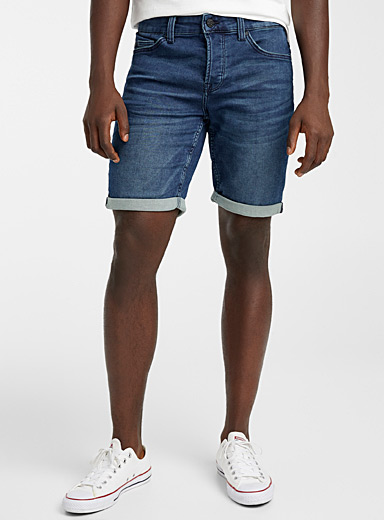 Only & Sons Blue Blue denim terry Bermudas for men