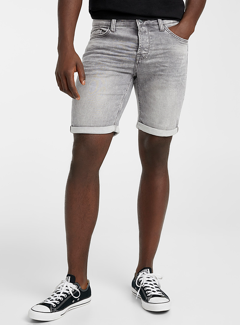 Only & Sons Grey Ash-grey denim terry Bermudas for men