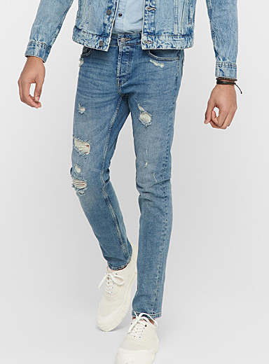 Only & Sons Blue Distressed faded jean  Slim fit for men