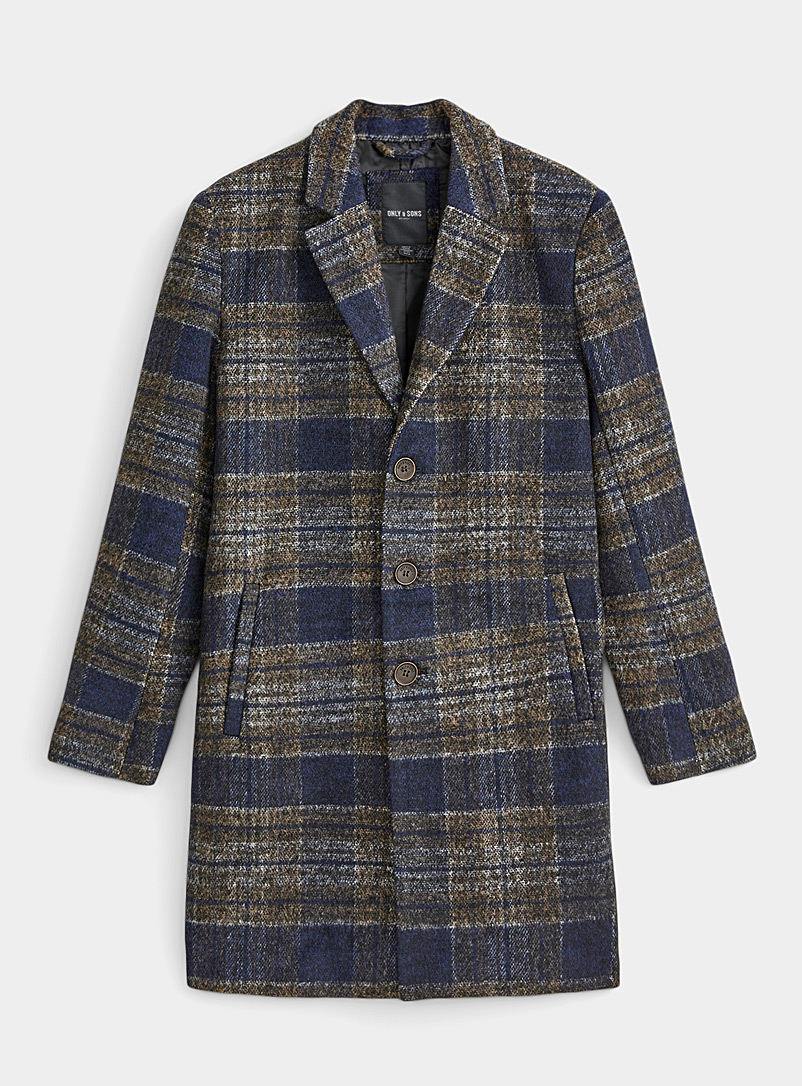 Heathered check overcoat