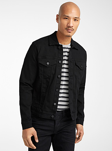 Deep black stretch jean jacket