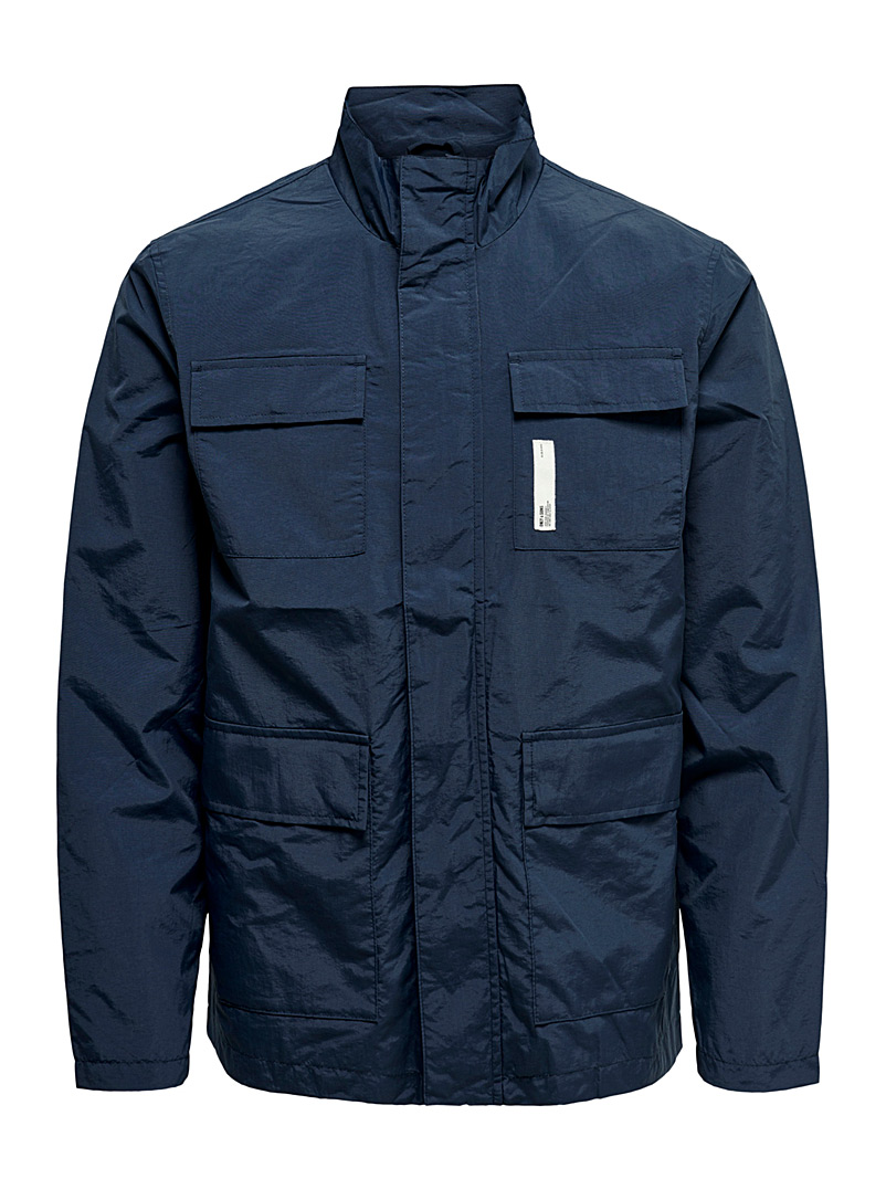 Only & Sons Marine Blue Utility windbreaker jacket for men