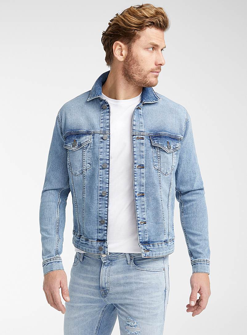 Only & Sons Baby Blue Stretch jean jacket for men