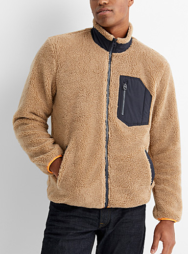 Only & Sons Light Brown Sherpa jacket for men