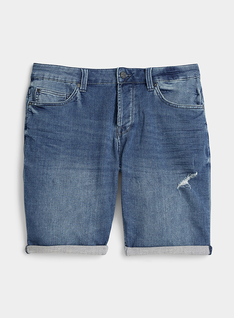 Only & Sons Blue Faded knit Bermudas jean for men