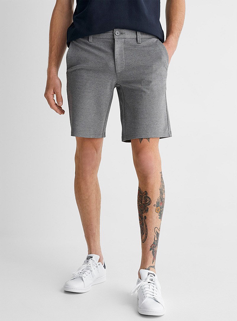 Only & Sons Light Grey Stretch ponte short for men