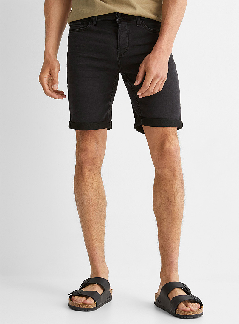 Only & Sons Black Black knit jean Bermudas for men