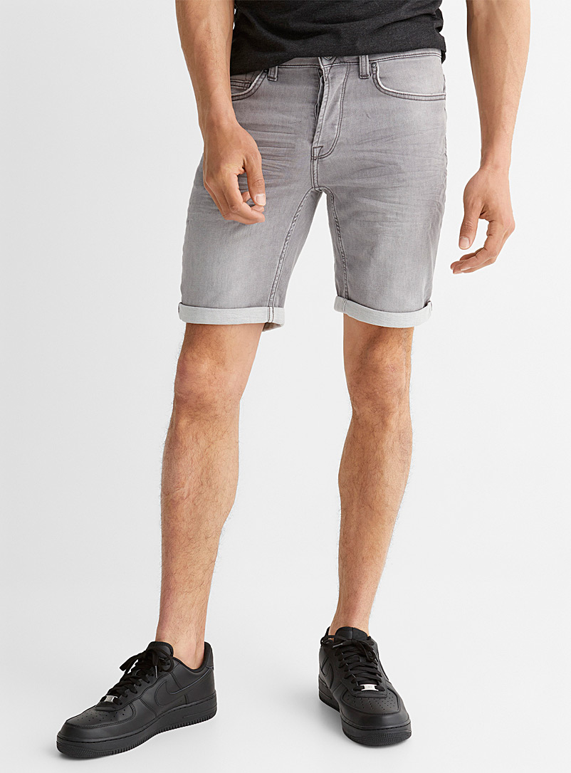 Only & Sons Light Grey Ash grey knit jean Bermudas for men