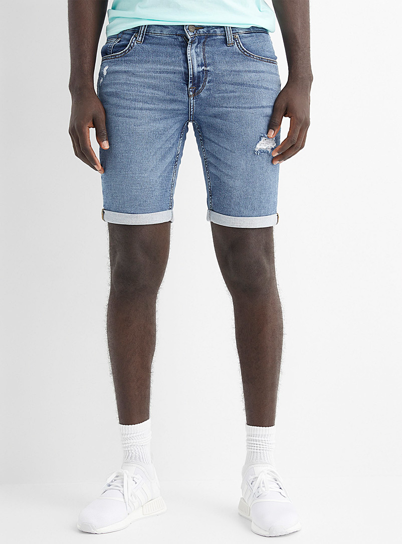 Only & Sons Blue Faded denim knit Bermudas for men