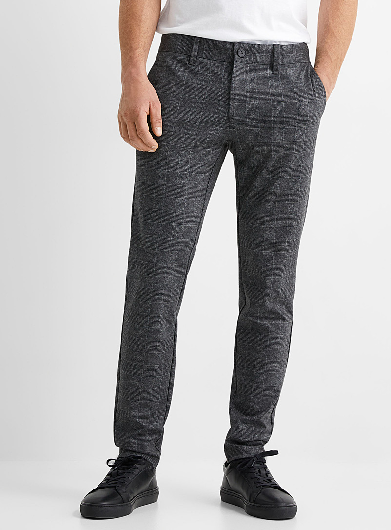 Only & Sons Black Chambray check Mark pant Slim fit for men