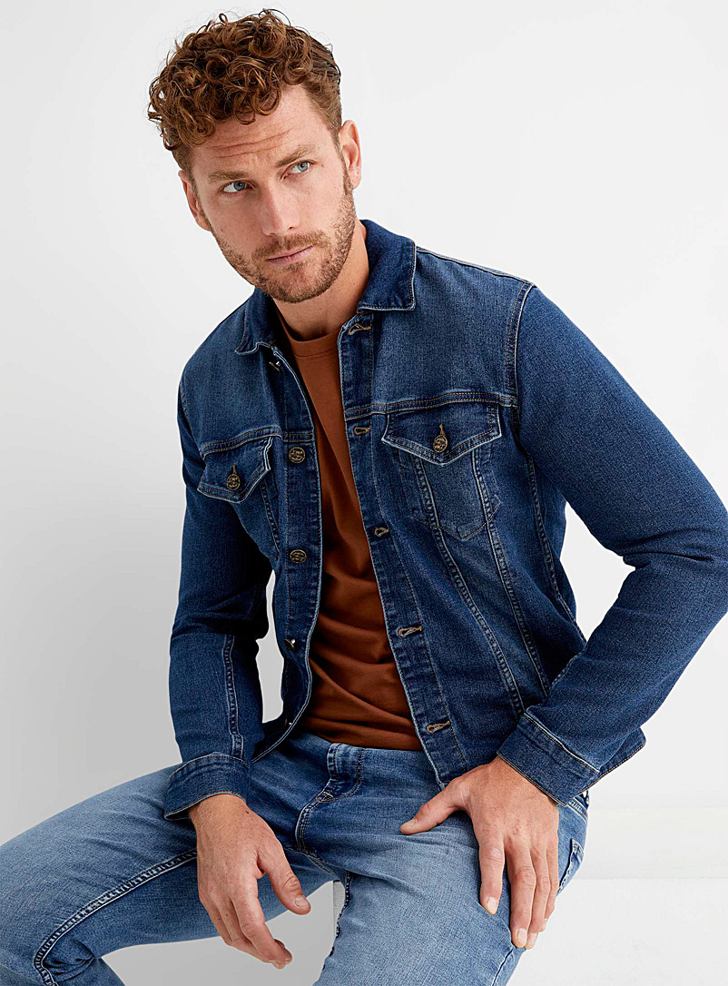 Only & Sons Baby Blue Blue stretch jean jacket for men