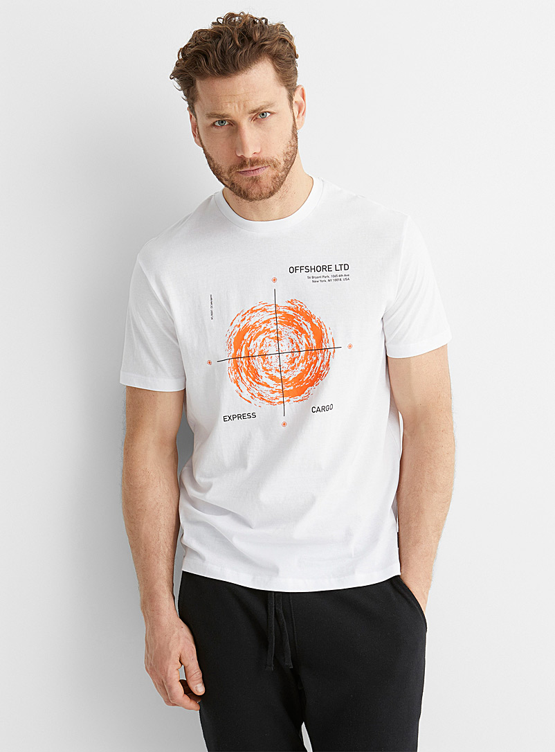 Only & Sons White Geo coordinates T-shirt for men