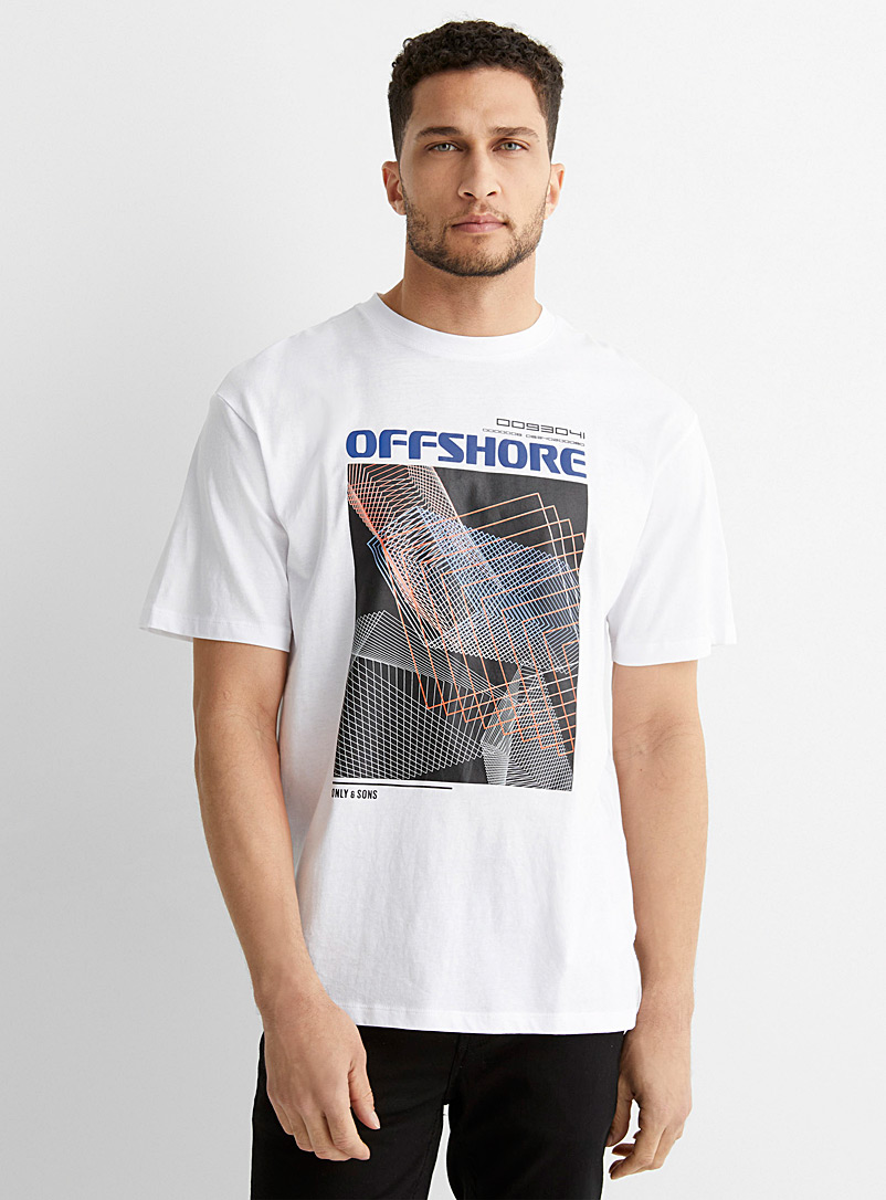 Only & Sons White Techno wave T-shirt for men