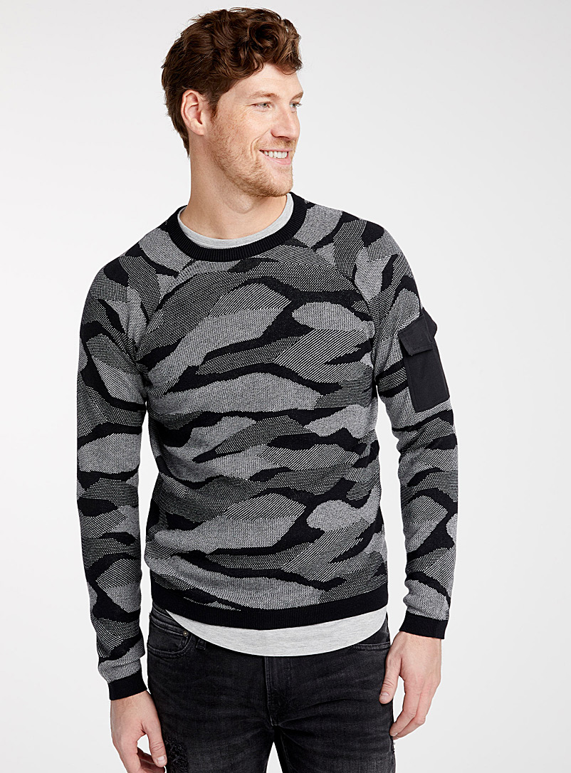 Digital camouflage sweater - Crew necks - Black
