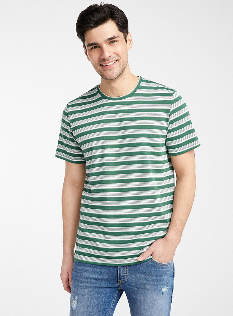 Only & Sons Green Piqué stripe T-shirt for men