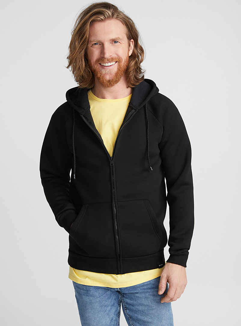 Neoprene-like hoodie - Sweatshirts & Hoodies - Black