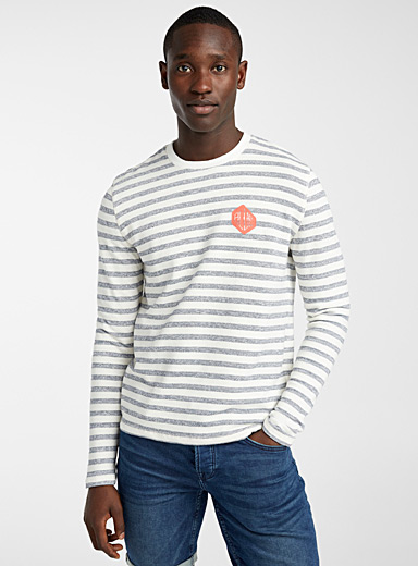 Only & Sons: Le sweat rayures balnéaires Marine pour homme