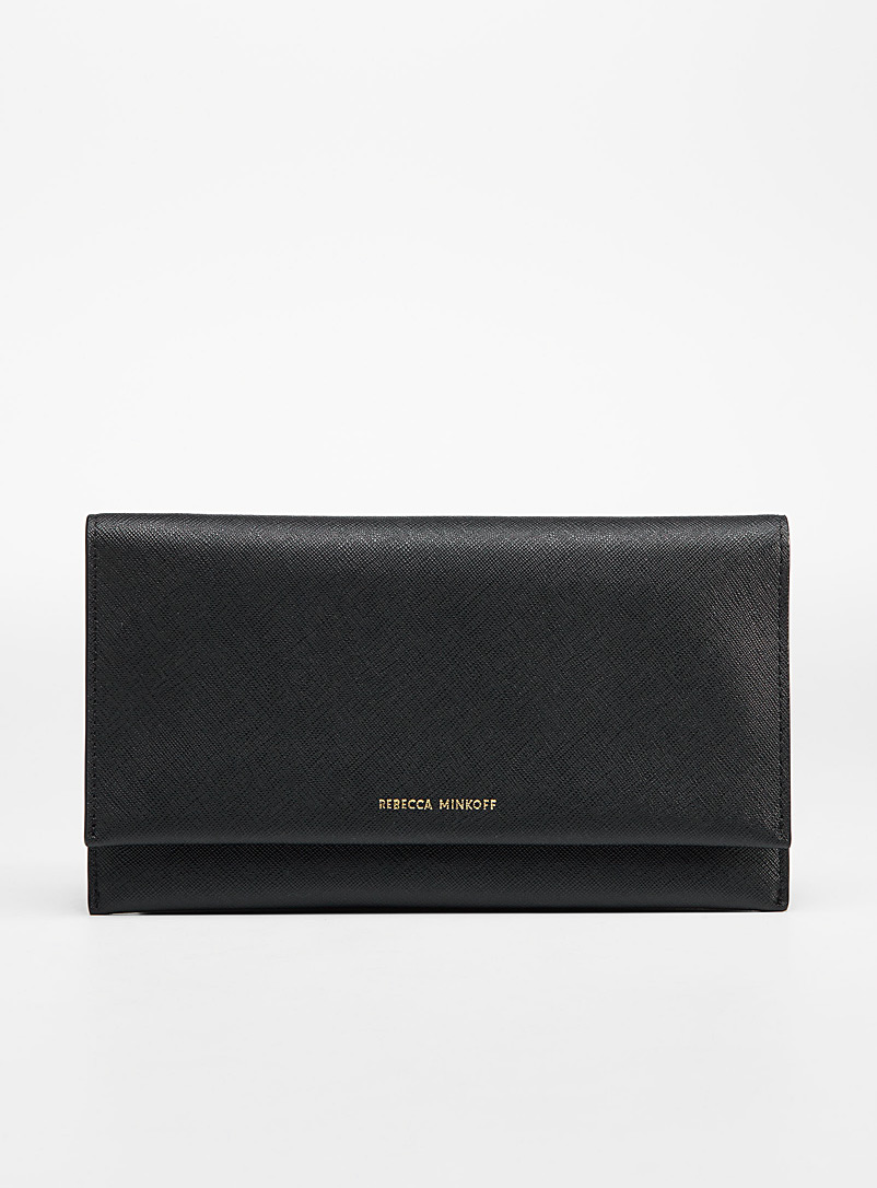 Rebecca Minkoff Black Textured leather flap wallet for women