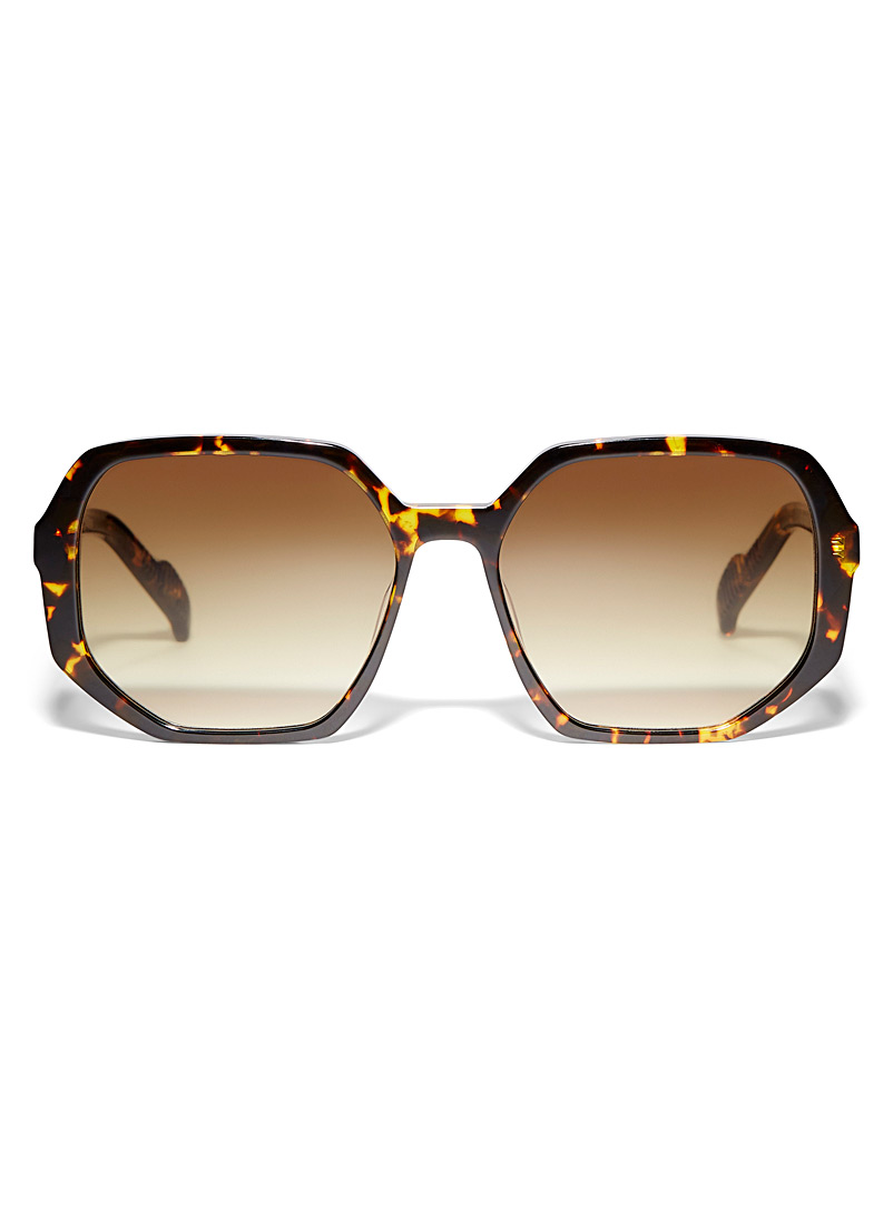 Spitfire Light Brown Cut Sixteen octogonal sunglasses for women