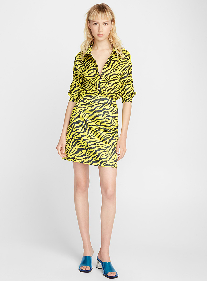 Yellow tiger-stripe skirt - Short - Patterned Yellow