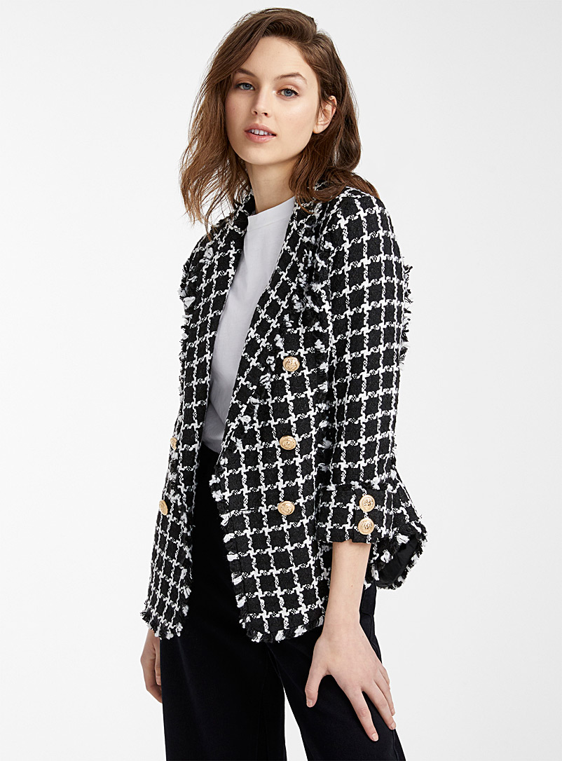 shawl-collar-checkered-tweed-jacket