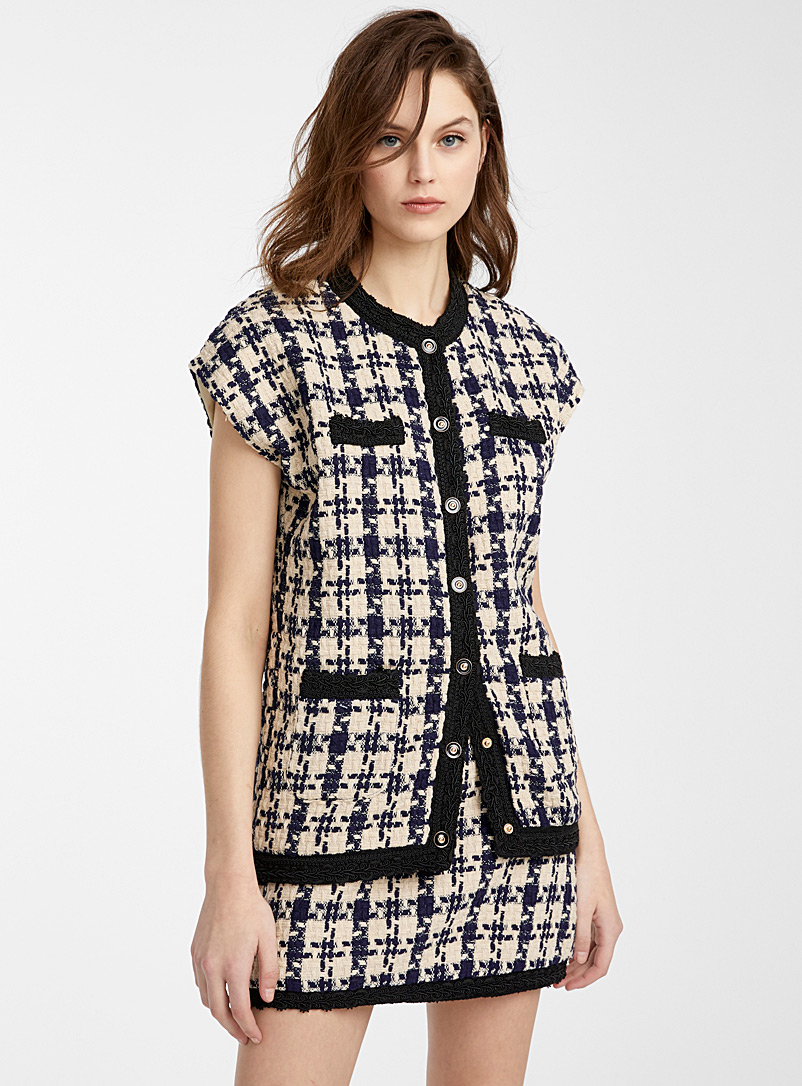 Icône Marine Blue Trimmed tweed jacket for women