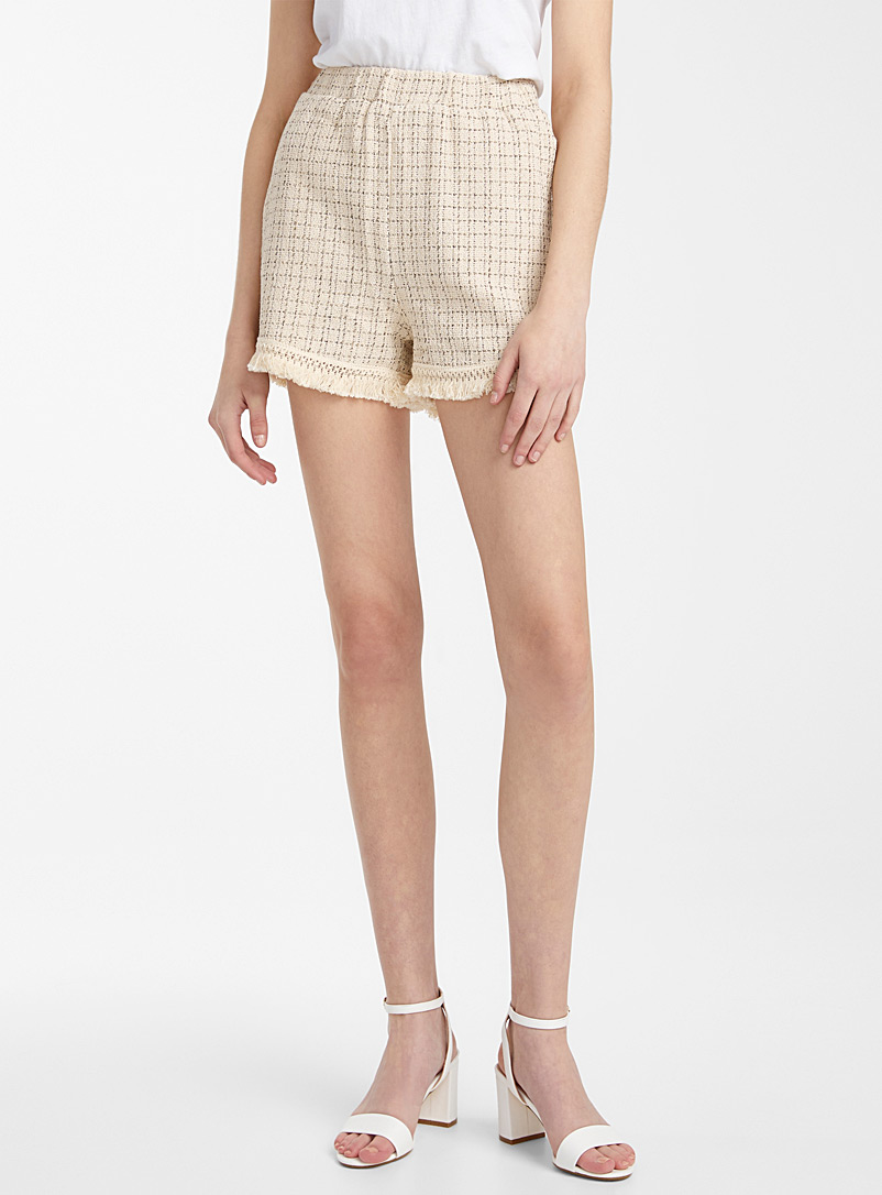 Icône Ivory White Fringed trim tweed check short for women