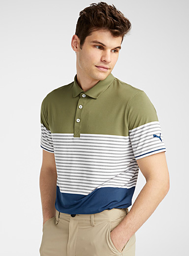 Block and stripe microfibre polo