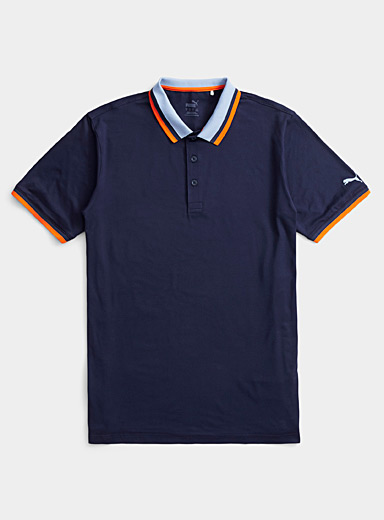 Puma Golf Patterned Blue Lux colour block collar polo for men