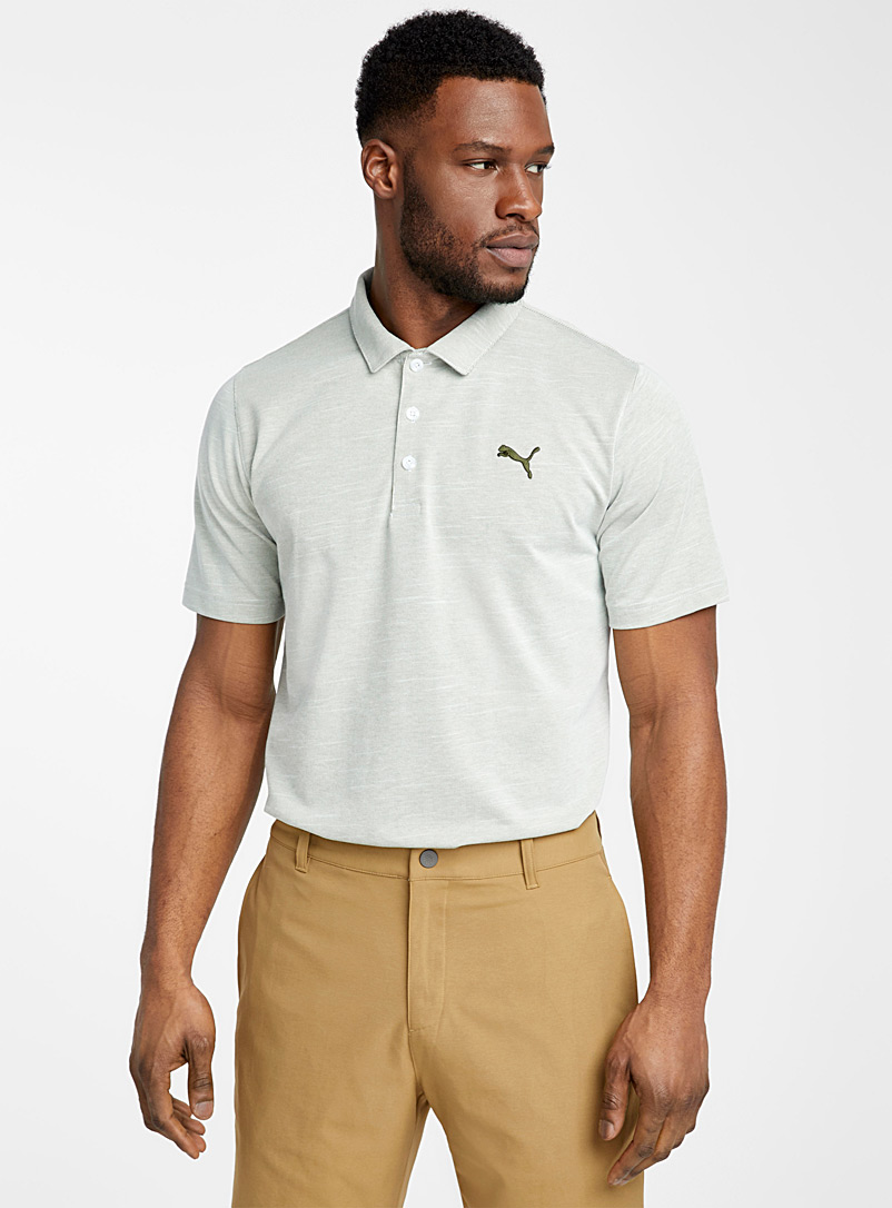 Puma Golf Khaki Mini stripe polo for men