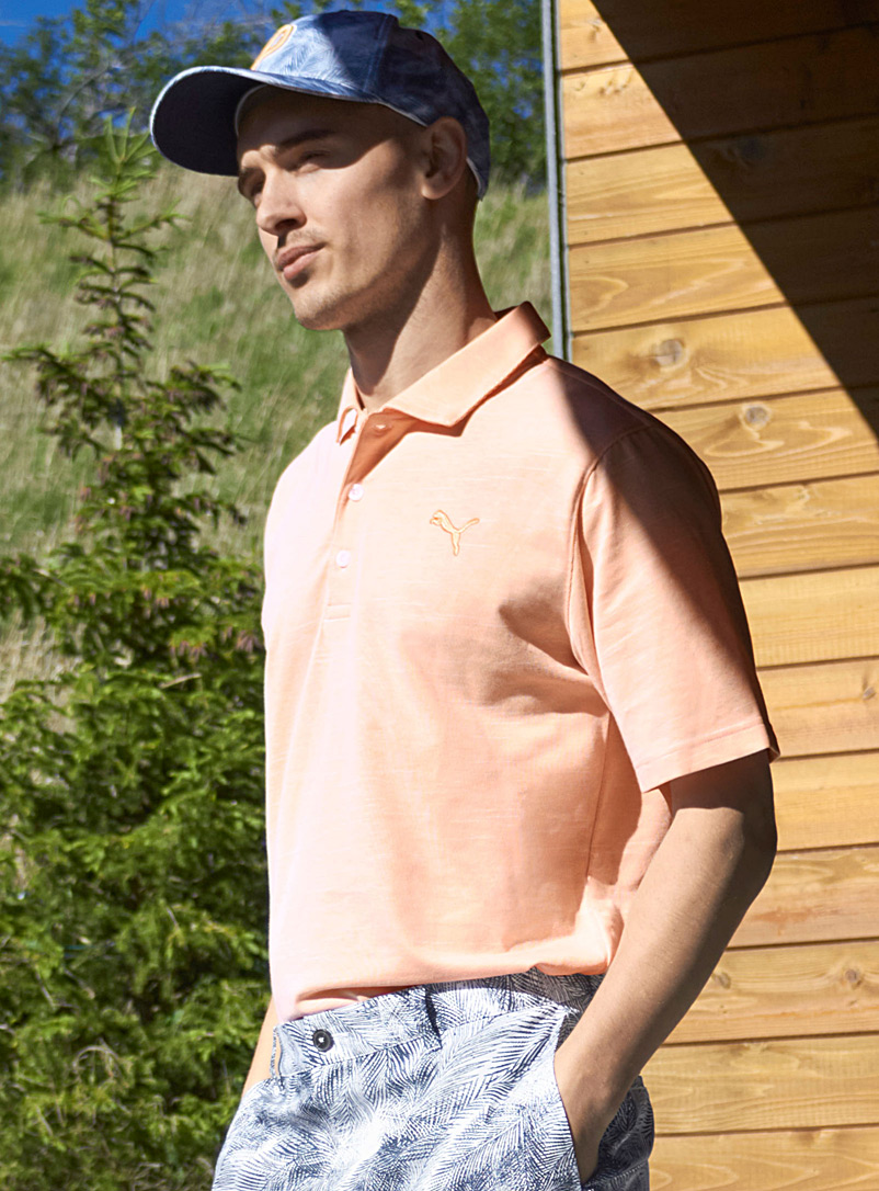Puma Golf Orange Mini stripe polo for men