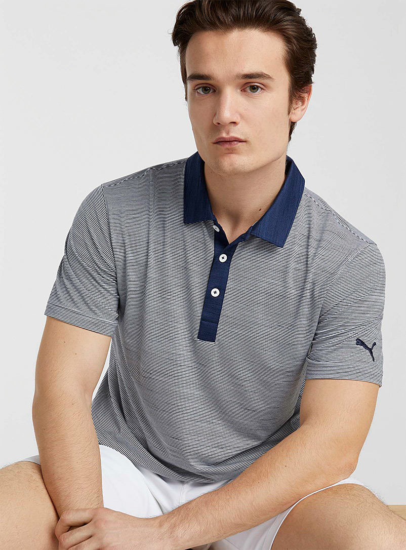 Puma Golf Marine Blue Cloud Legend striped polo for men