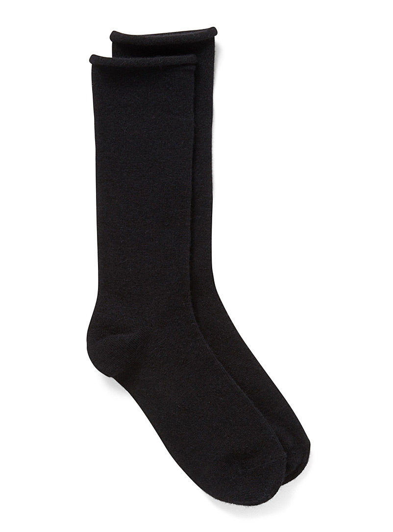 Simons Black Merino wool socks for women