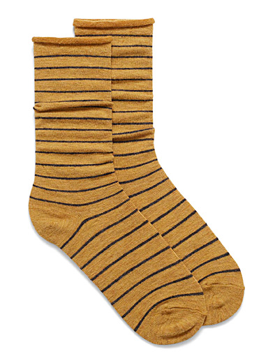 Rolled merino wool socks