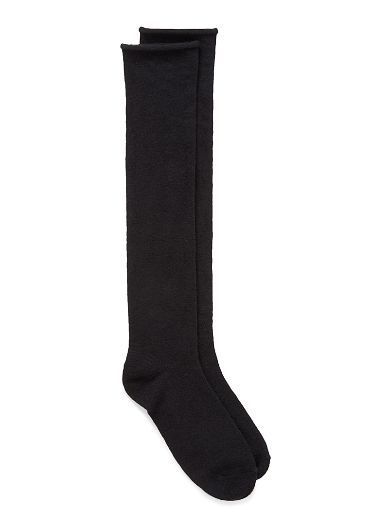 Simons Black Merino wool knee-highs for women