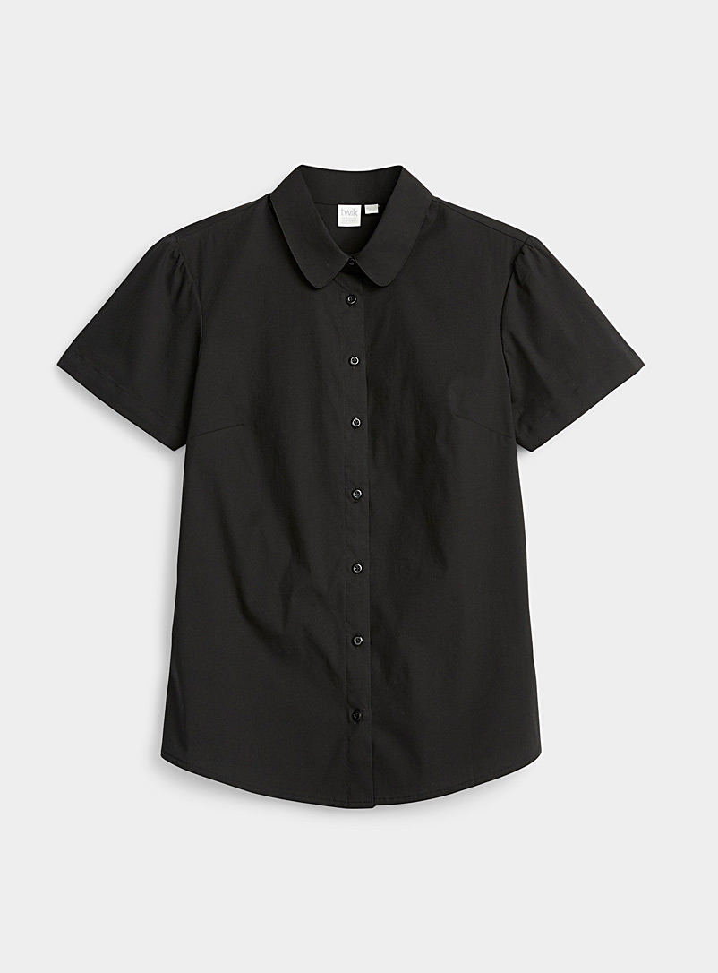 Twik Black Solid basic shirt for women