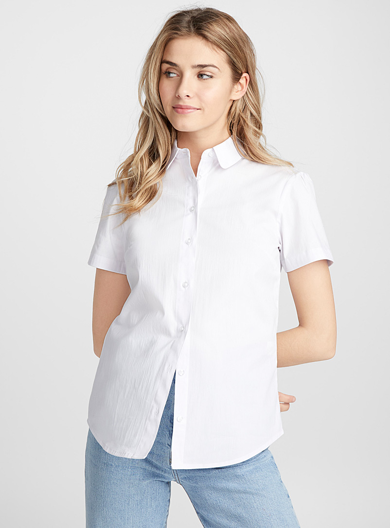 Twik White Solid basic shirt for women