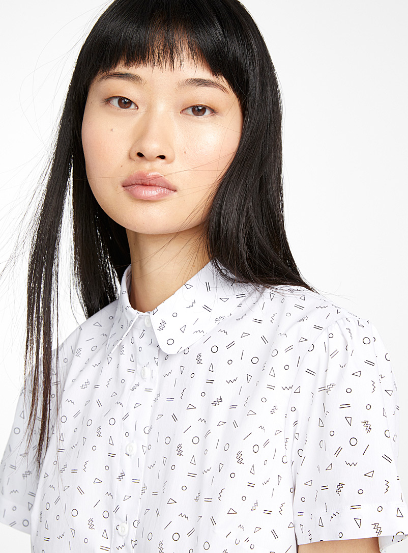 Twik White Printed basic shirt for women