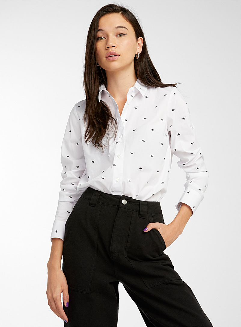 Stretch printed cotton shirt