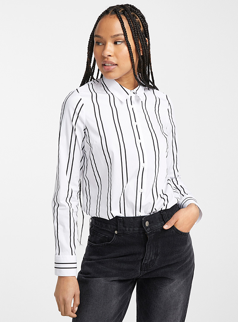 Twik Patterned White Stretch printed cotton shirt for women