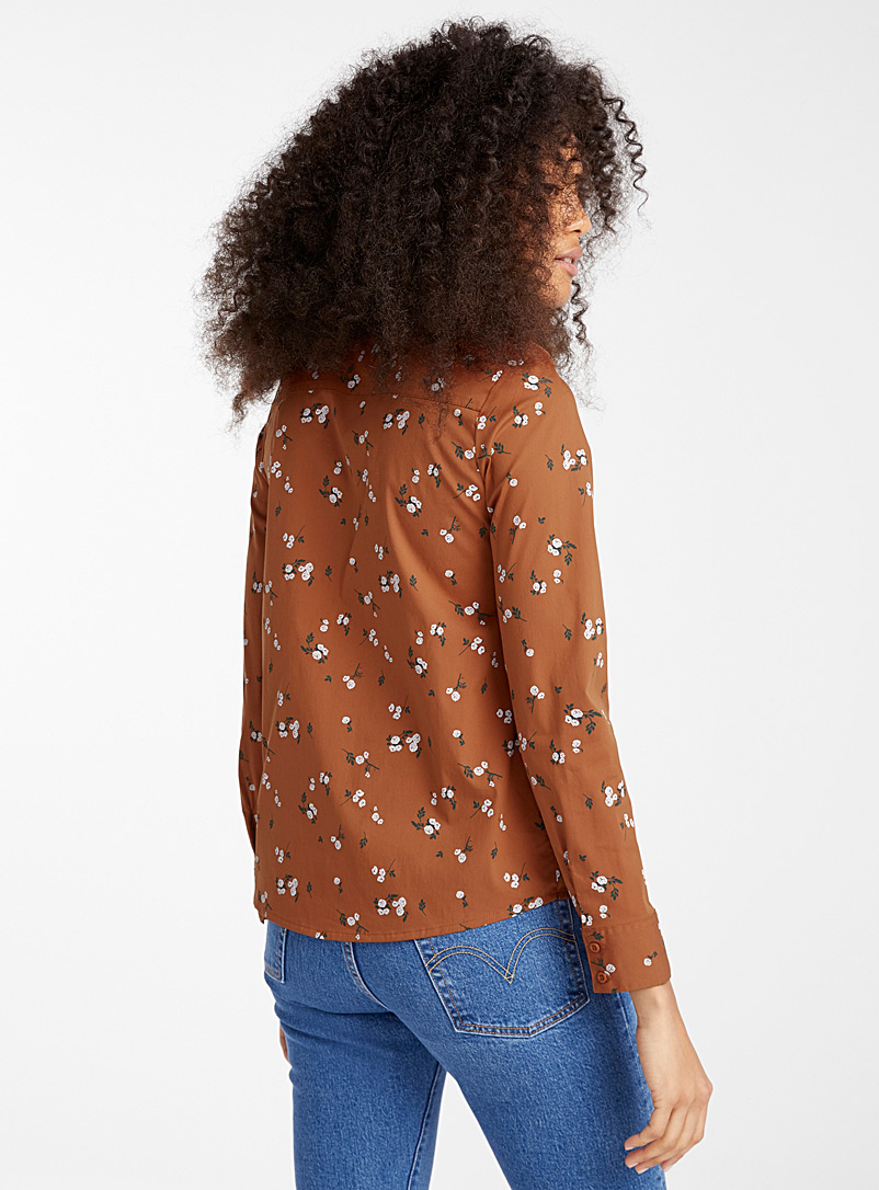 Twik Patterned Blue Stretch printed cotton shirt for women
