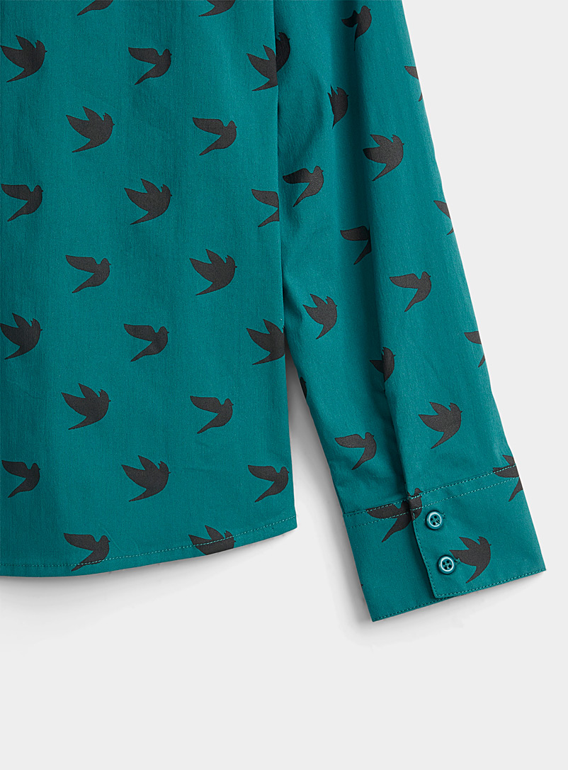 Twik Teal Stretch printed cotton shirt for women