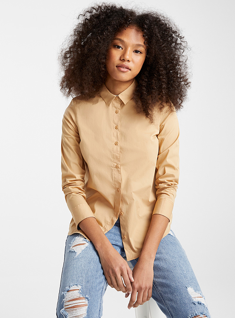 Twik Sand Solid stretch cotton shirt for women