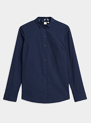 Solid stretch cotton shirt