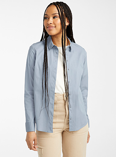 Twik Baby Blue Solid stretch cotton shirt for women