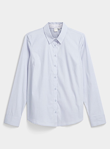 Twik Teal Solid stretch cotton shirt for women