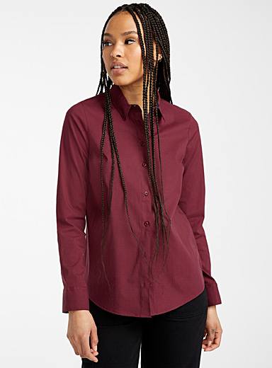 Twik Ruby Red Solid stretch cotton shirt for women